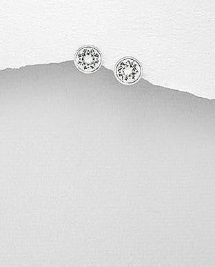 925 Sterling Silver Swarovski Crystal Solitaire Earrings